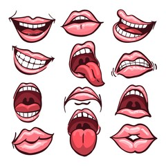 Set of cartoon mouths isolated on a white background. Variety of emotions and facial expressions. Vector illustration.
