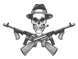 Gangster Skull Illustration