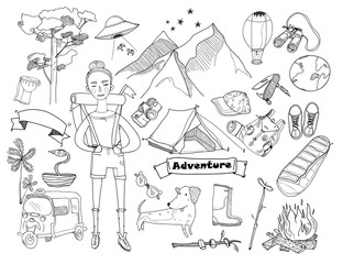 Adventure time. Hand drawn doodle vector set. Isolated elements