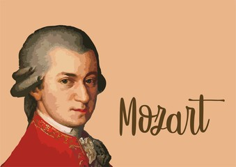 Great composers - portrait of Wolfgang Amadeus Mozart with vector signature