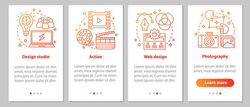 Design studio onboarding mobile app page screen with linear conc