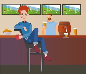 Young red-haired man sitting in a sport bar. Student night out. Flat vector ilustration.
