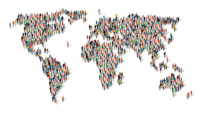 Group of people in form of world map. Group of people making a earth planet shape. A large group of people in the shape of a world map. Population. Globalization. People from different countries