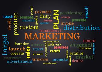 Marketing Collage of words on black background Vector illustration