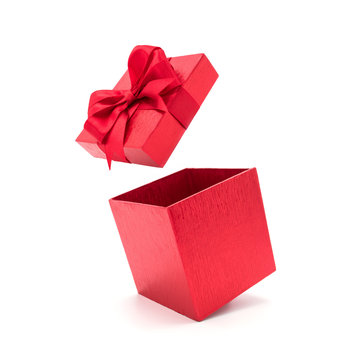 Open beautiful red gift box with ribbon.