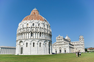 Baptistery with the Pisa Cathedral and the Leaning Tower of Pisa
