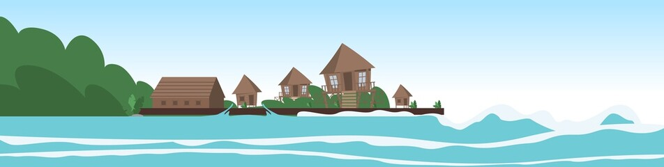 Vector image a village on the shore of a lagoon