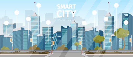Vector drawing image the smart city background