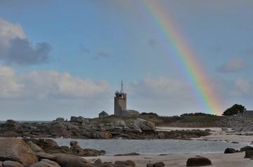 Rainbow on Brignogan Sémaphore, France
