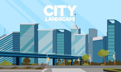 Vector drawing image of the city landscape