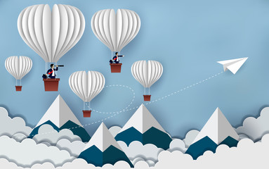 concept of business success, hot air balloon businessman holding binocular and paper plane white flying on sky between cloud. to the target. startup. creative idea. cartoon vector illustration
