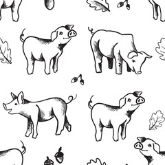Seamless pattern illustration with hand drawn cute pigs black isolated on white