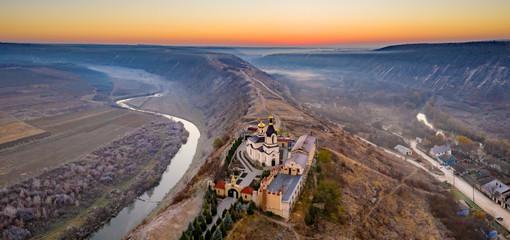 Fotobehang Chocoladebruin Old Orhei panorama, Republic of Moldova, aerial view