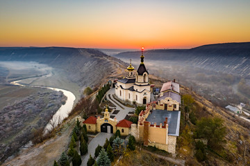 Old Orhei Monastery at sunrise in Moldova Republic Wall mural