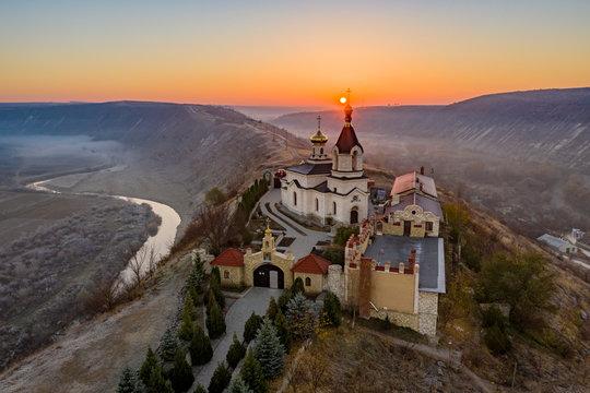 Sunrise at Old Orhei Monastery in Moldova Republic