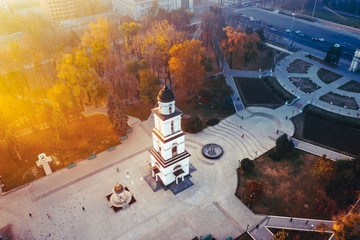 Chisinau Central Park aerial view with artistic tonning