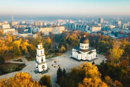 Above Chisinau at sunset. Chisinau is the capital city of Republic of Moldova