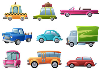 Old, vintage, cartoon retro cars set vector illustration isolated.