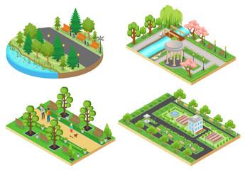 3d Isometric cartoon style green city public park concepts set vector illustration.