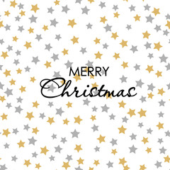 Seamless pattern gold gray stars on white Background with Merry Christmass. Golden Gray stars. Background for your Christmas and New Year Design of Banners, Cards, Posters, Wallpaper