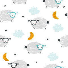 Seamless pattern with cute sheep, moon and clouds. Childish bedtime print. Vector hand drawn illustration.