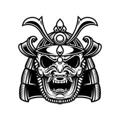 Japanese samurai mask and helmet. Design element for logo, label, emblem, sign, poster.
