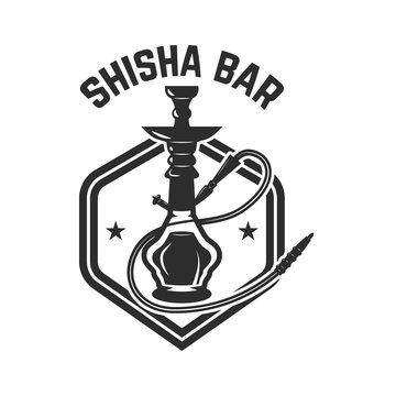 Hookah shop. Emblem template with hookah. Design element for logo, label, sign.