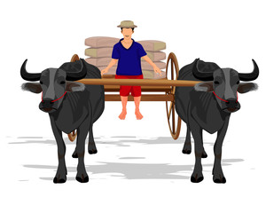 agriculturist with cart vector design