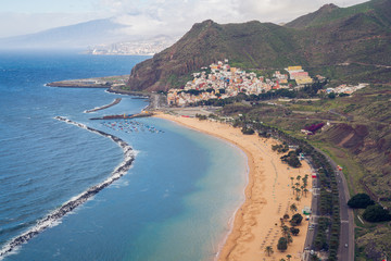 San Andres, Tenerife. Amazing coastline with beaches and tourist attractions. Anaga Mountains in the background.
