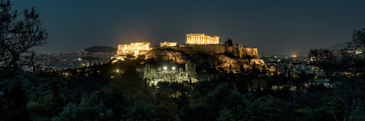 Fototapete - Panoramic view of Athens with Acropolis hill at night, Greece