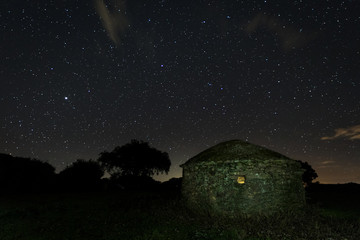 Night landscape with old structure near Montehermoso. Extremadura. Spain.