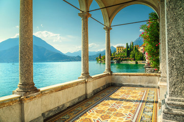 Wall Mural - Mediterranean balcony with spectacular view, lake Como, Varenna, Italy, Europe