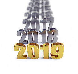 New Year 2019 on a white background 3D illustration, 3D rendering