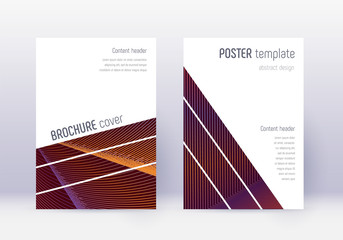 Geometric cover design template set. Orange abstra