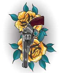 Illustration of a rose and gun tattoo