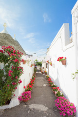Alberobello, Apulia - Streets full of flowers within the traditional buildings