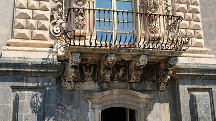Catania, Sicily. Monastery of San Nicolò l'Arena. It is an example of late Sicilian Baroque architectural style.  It hosts the Department of Humanities of the University of Catania