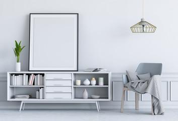 3D render of living Interior room mockup blank poster.