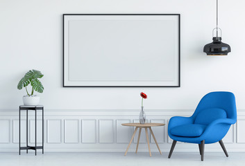 mock up poster frame in interior living room and armchair, 3D render