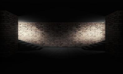 Background of a dark room with brick walls, steps and concrete floor. Neon light, spotlight, smoke, fog, smog