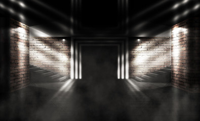 Background of a dark room with brick walls, steps and concrete floor. Neon light, spotlight, smoke, fog, smog