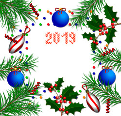 New Year banner. Christmas tree branches, holly branches, Christmas tree decorations, confetti, ribbons, text 2019