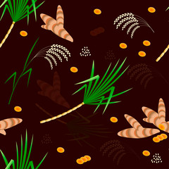 Pongal Hindu harvest festival in India and Sri Lanka. The concept of the event. Seamless pattern. Plants Sugarcane, turmeric, rice.