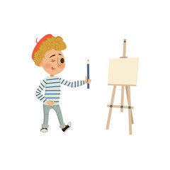 Boy holding a pencil. Artist easel. Isolated on white background. Vector cartoon illustration in flat style