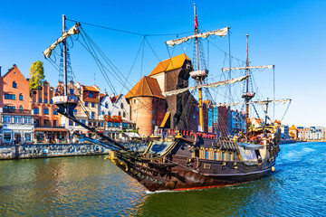 Tuinposter Schip Historical ship in the Old Town of Gdansk, Poland