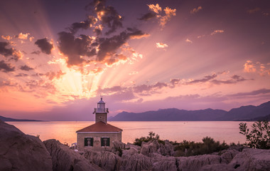 Beautiful sunset in Makarska, Croatia