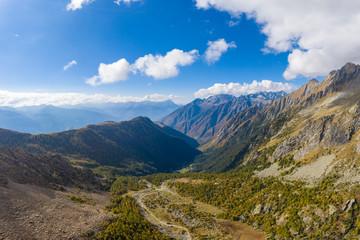 Aerial view of Preda Rossa valley. Val Masino, Sondrio province, Lombardy, Italy.