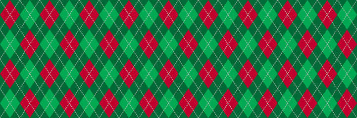 Red and Green Argyle Banner