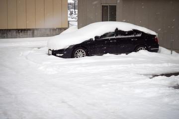 Snow cover car roof in car park. Winter season.