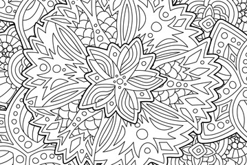 Beautiful coloring book page with floral pattern